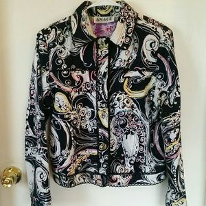 Anage Art To Wear Colorful Abstract Vintage Jacket